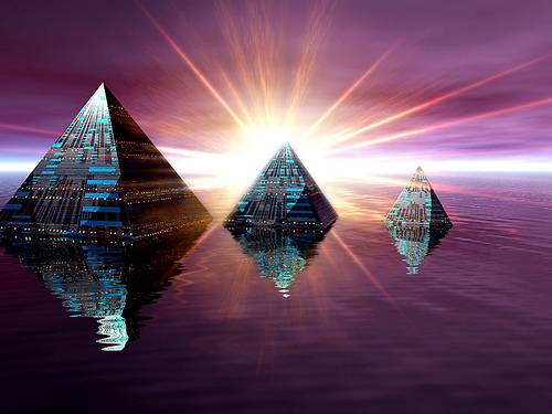 lighted pyramids