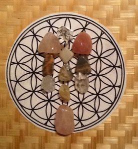 New Moon Moonstone, Rose Quartz, Creamy and Black Moonstone and Clear Quartz Crystal Grid
