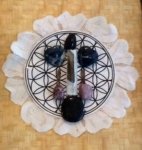 One Collective Peace Crystal Grid  Sodalite, Nuummite, Selenite, Smoky Quartz, Astrophyllite, Lepidolite Flower Of Life